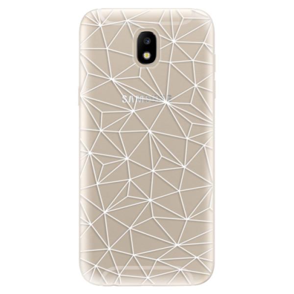 Silikonové odolné pouzdro iSaprio Abstract Triangles 03 white na mobil Samsung Galaxy J5 2017 (Silikonový odolný kryt, obal, pouzdro iSaprio Abstract Triangles 03 white na mobil Samsung Galaxy J5 (2017))