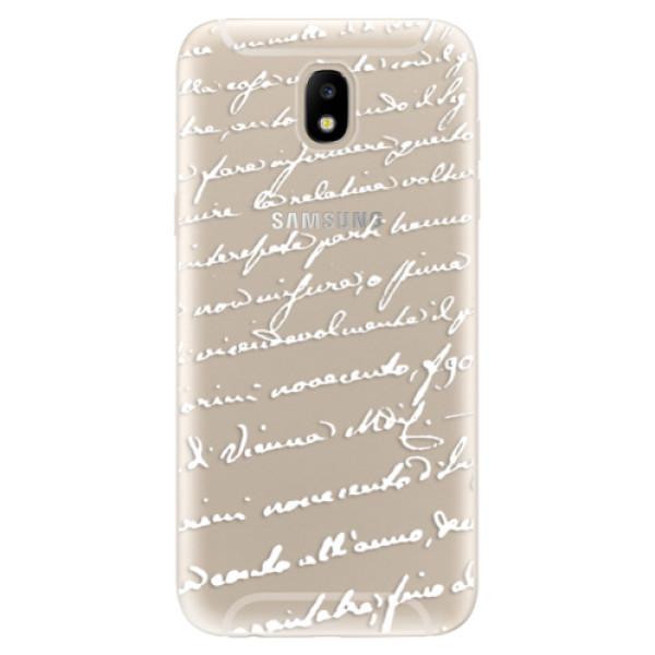 Silikonové odolné pouzdro iSaprio Handwriting 01 white na mobil Samsung Galaxy J5 2017 (Silikonový odolný kryt, obal, pouzdro iSaprio Handwriting 01 white na mobil Samsung Galaxy J5 (2017))