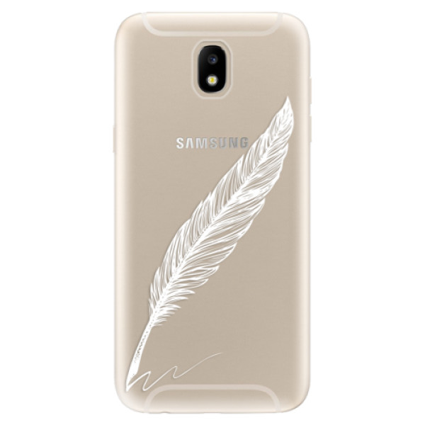 Silikonové odolné pouzdro iSaprio Writing By Feather white na mobil Samsung Galaxy J5 2017 (Silikonový odolný kryt, obal, pouzdro iSaprio Writing By Feather white na mobil Samsung Galaxy J5 (2017))