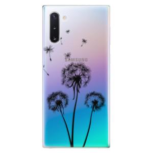 Silikonové odolné pouzdro iSaprio Three Dandelions black na mobil Samsung Galaxy Note 10