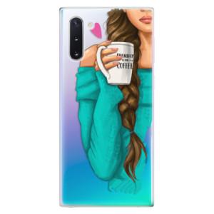 Silikonové odolné pouzdro iSaprio My Coffee and Brunette Girl na mobil Samsung Galaxy Note 10