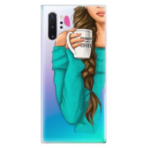 Silikonové odolné pouzdro iSaprio My Coffee and Brunette Girl na mobil Samsung Galaxy Note 10 Plus