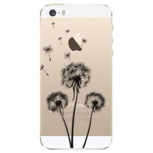 Silikonové odolné pouzdro iSaprio Three Dandelions black na mobil Apple iPhone 5 / 5S / SE