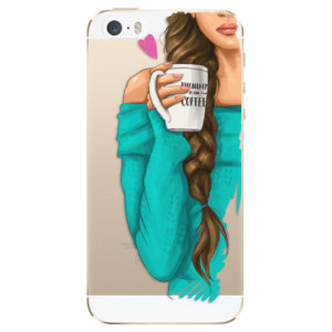 Silikonové odolné pouzdro iSaprio My Coffee and Brunette Girl na mobil Apple iPhone 5 / 5S / SE