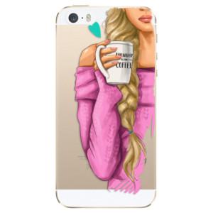 Silikonové odolné pouzdro iSaprio My Coffee and Blond Girl na mobil Apple iPhone 5 / 5S / SE