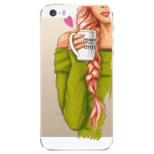 Silikonové odolné pouzdro iSaprio My Coffee and Redhead Girl na mobil Apple iPhone 5 / 5S / SE