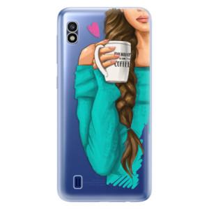 Silikonové odolné pouzdro iSaprio My Coffee and Brunette Girl na mobil Samsung Galaxy A10
