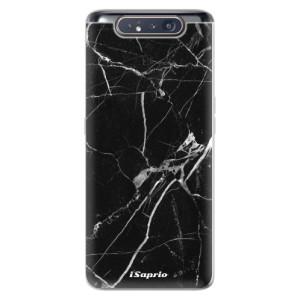 Silikonové odolné pouzdro iSaprio Black Marble 18 na mobil Samsung Galaxy A80