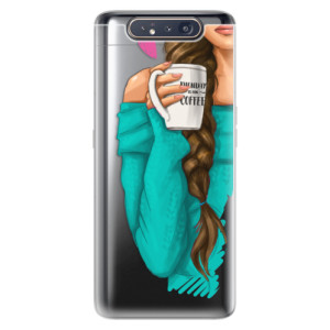 Silikonové odolné pouzdro iSaprio My Coffee and Brunette Girl na mobil Samsung Galaxy A80