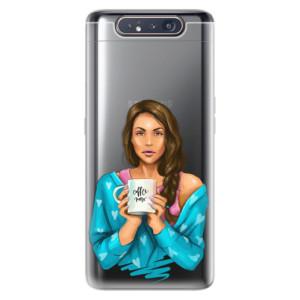 Silikonové odolné pouzdro iSaprio Coffee Now Brunette na mobil Samsung Galaxy A80
