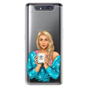 Silikonové odolné pouzdro iSaprio Coffee Now Blond na mobil Samsung Galaxy A80