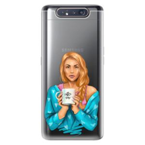 Silikonové odolné pouzdro iSaprio Coffee Now Redhead na mobil Samsung Galaxy A80