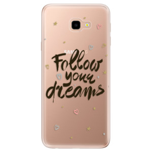 Silikonové odolné pouzdro iSaprio Follow Your Dreams black na mobil Samsung Galaxy J4 Plus
