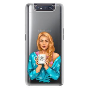Plastové pouzdro iSaprio Coffee Now Redhead na mobil Samsung Galaxy A80