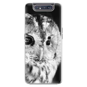 Plastové pouzdro iSaprio BW Owl na mobil Samsung Galaxy A80
