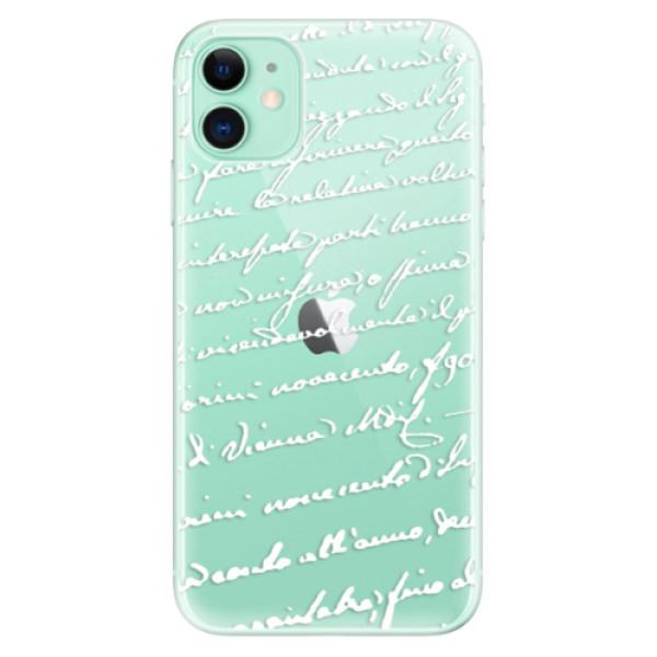 Silikonové odolné pouzdro iSaprio - Handwriting 01 white na mobil Apple iPhone 11