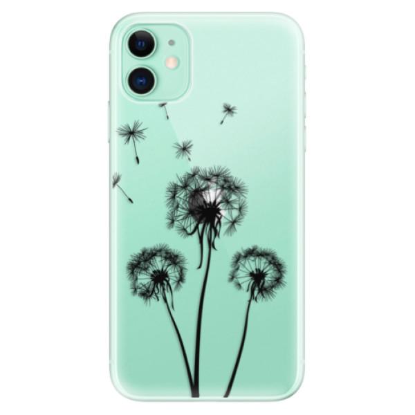 Silikonové odolné pouzdro iSaprio - Three Dandelions black na mobil Apple iPhone 11