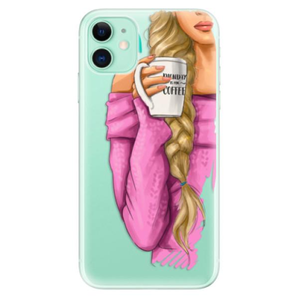 Silikonové odolné pouzdro iSaprio - My Coffee and Blond Girl na mobil Apple iPhone 11