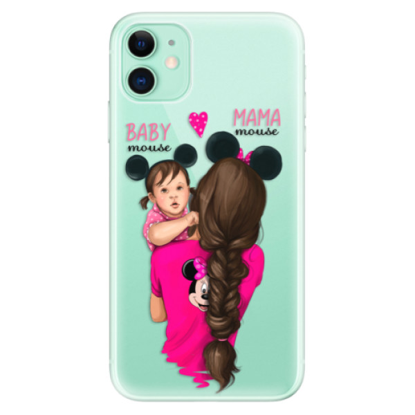 Silikonové odolné pouzdro iSaprio - Mama Mouse Brunette and Girl na mobil Apple iPhone 11