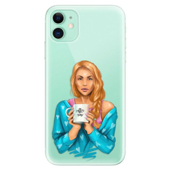 Silikonové odolné pouzdro iSaprio - Coffee Now Redhead na mobil Apple iPhone 11