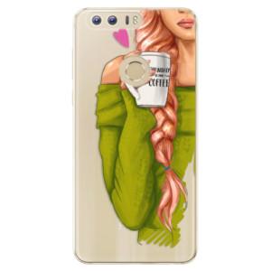 Silikonové odolné pouzdro iSaprio - My Coffe and Redhead Girl na mobil Honor 8