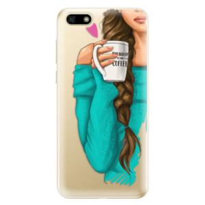 Silikonové odolné pouzdro iSaprio - My Coffe and Brunette Girl na mobil Huawei Y5 2018