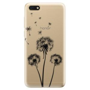 Silikonové odolné pouzdro iSaprio - Three Dandelions - black na mobil Honor 7S