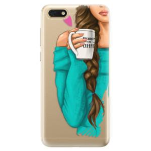 Silikonové odolné pouzdro iSaprio - My Coffe and Brunette Girl na mobil Honor 7S