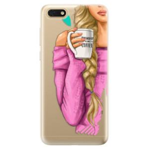 Silikonové odolné pouzdro iSaprio - My Coffe and Blond Girl na mobil Honor 7S