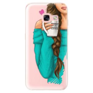 Silikonové odolné pouzdro iSaprio - My Coffe and Brunette Girl na mobil Samsung Galaxy A3 2017