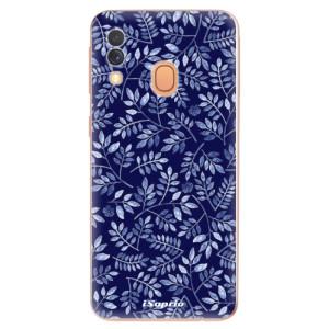 Silikonové odolné pouzdro iSaprio - Blue Leaves 05 na mobil Samsung Galaxy A40