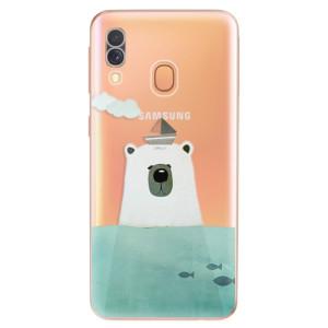 Silikonové odolné pouzdro iSaprio - Bear With Boat na mobil Samsung Galaxy A40