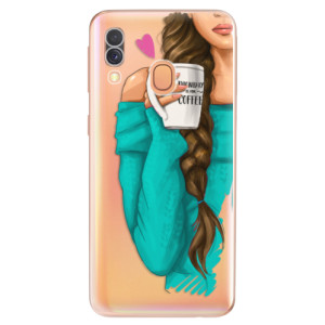 Silikonové odolné pouzdro iSaprio - My Coffe and Brunette Girl na mobil Samsung Galaxy A40