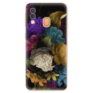 Silikonové odolné pouzdro iSaprio - Dark Flowers na mobil Samsung Galaxy A40
