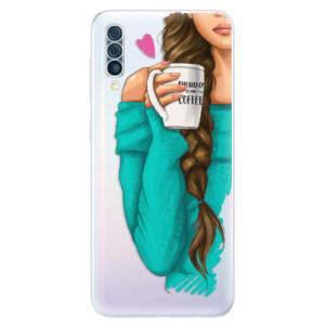 Silikonové odolné pouzdro iSaprio - My Coffe and Brunette Girl na mobil Samsung Galaxy A50
