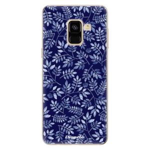 Silikonové odolné pouzdro iSaprio - Blue Leaves 05 na mobil Samsung Galaxy A8 2018