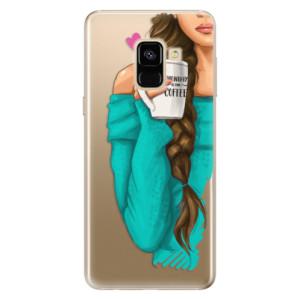 Silikonové odolné pouzdro iSaprio - My Coffe and Brunette Girl na mobil Samsung Galaxy A8 2018