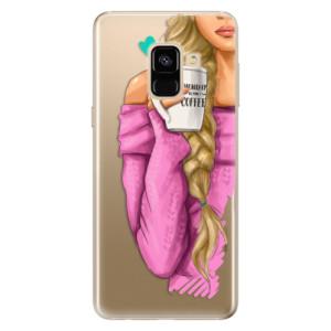 Silikonové odolné pouzdro iSaprio - My Coffe and Blond Girl na mobil Samsung Galaxy A8 2018