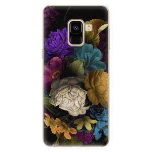 Silikonové odolné pouzdro iSaprio - Dark Flowers na mobil Samsung Galaxy A8 2018