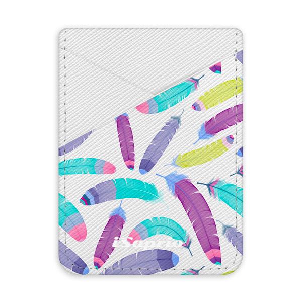 Pouzdro na kreditní karty iSaprio Feather Pattern 01 světlá nalepovací kapsa