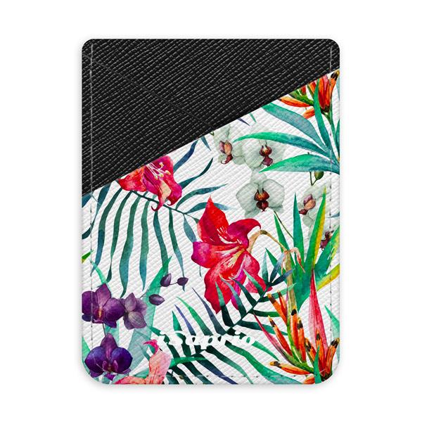 Pouzdro na kreditní karty iSaprio Flower Pattern 03 tmavá nalepovací kapsa
