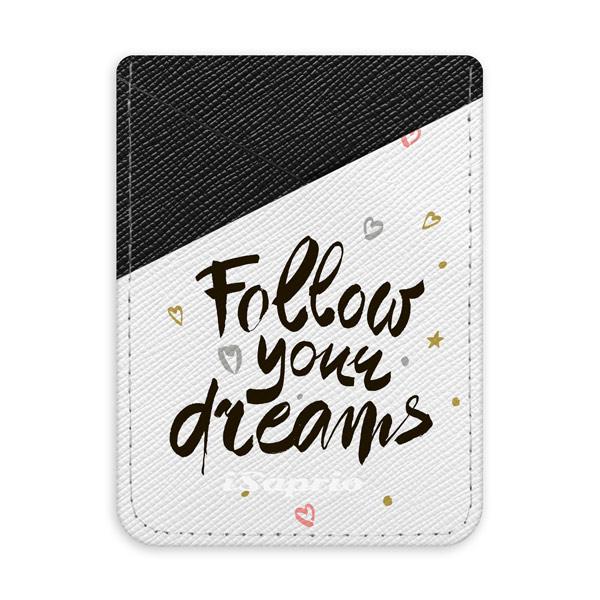 Pouzdro na kreditní karty iSaprio Follow Your Dreams black tmavá nalepovací kapsa