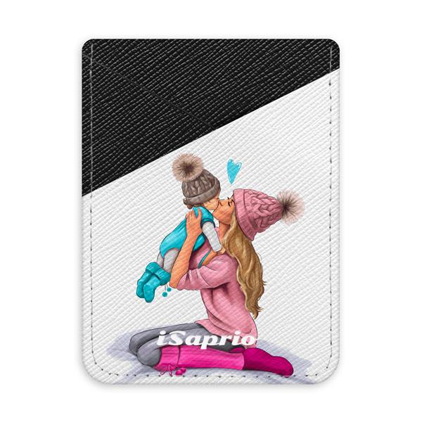 Pouzdro na kreditní karty iSaprio Kissing Mom Blond and Boy tmavá nalepovací kapsa
