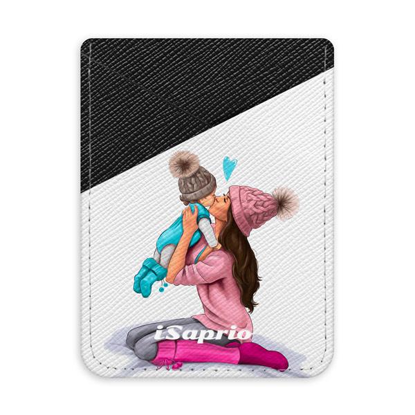 Pouzdro na kreditní karty iSaprio Kissing Mom Brunette and Boy tmavá nalepovací kapsa