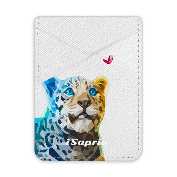 Pouzdro na kreditní karty iSaprio Leopard with Butterfly světlá nalepovací kapsa