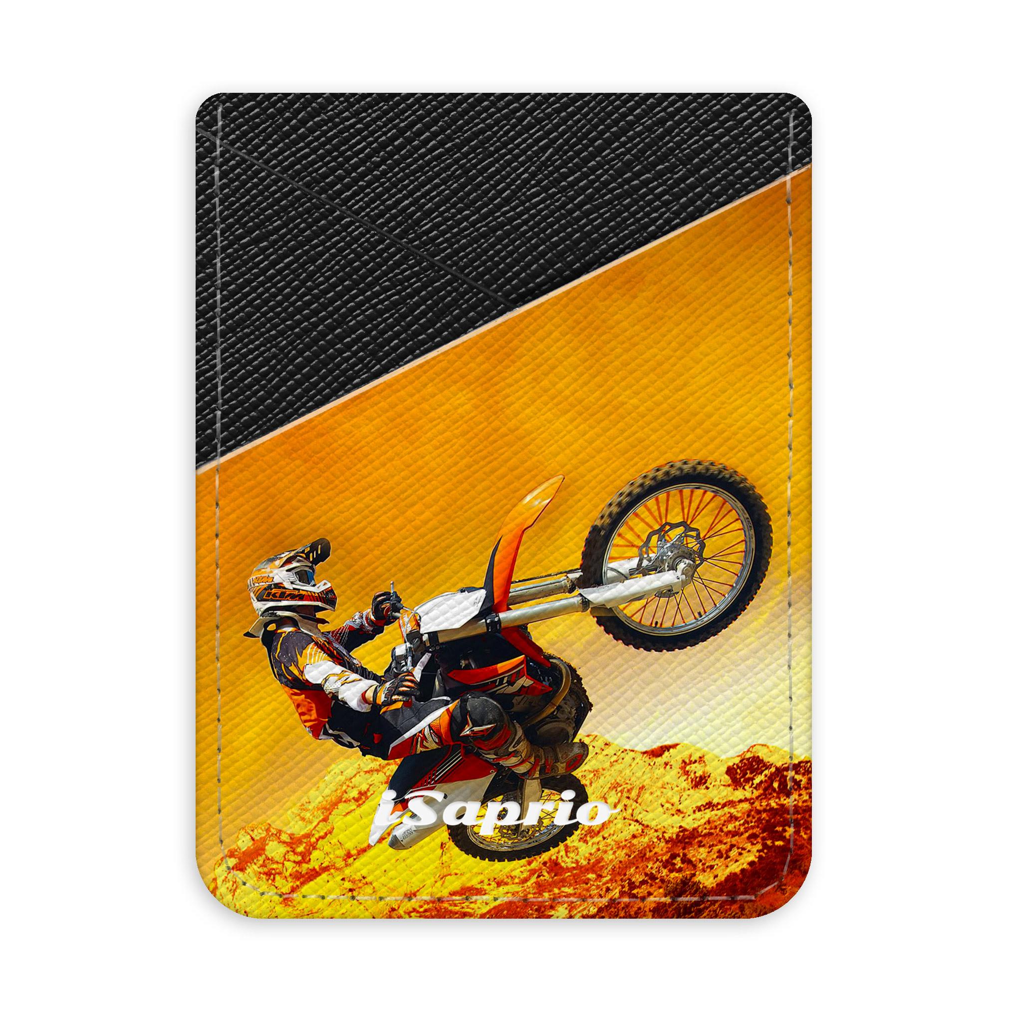 Pouzdro na kreditní karty iSaprio Motocross tmavá nalepovací kapsa