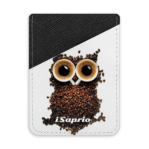 Pouzdro na kreditní karty iSaprio Owl and Coffee tmavá nalepovací kapsa