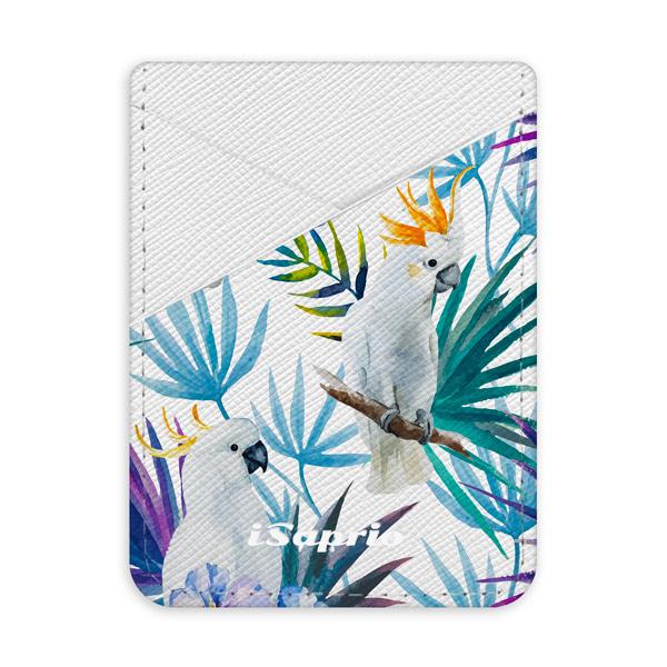 Pouzdro na kreditní karty iSaprio Parrot Pattern 01 světlá nalepovací kapsa