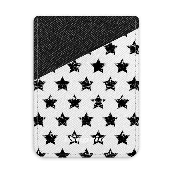 Pouzdro na kreditní karty iSaprio Stars Pattern black tmavá nalepovací kapsa