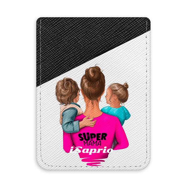 Pouzdro na kreditní karty iSaprio Super Mama Boy and Girl tmavá nalepovací kapsa